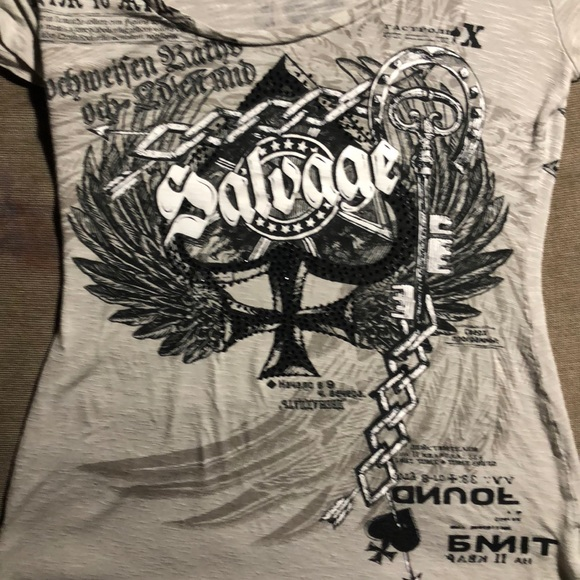 Salvage Tops - Salvage tee with crystals